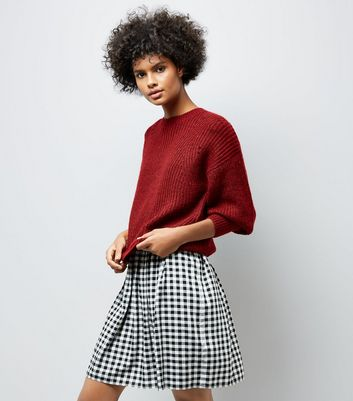 Red Balloon Sleeve Ribbed Jumper