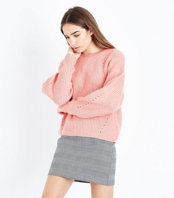 Pink Balloon Sleeve Ribbed Jumper