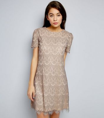 Mela Pale Grey Lace Short Sleeve Dress
