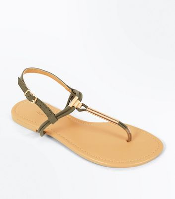Wide Fit Khaki Suedette Toe Post Sandals