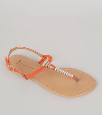 Wide Fit Orange Suedette Toe Post Sandals
