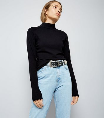 Black Funnel Neck Jumper