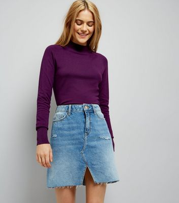 Dark Purple Funnel Neck Jumper