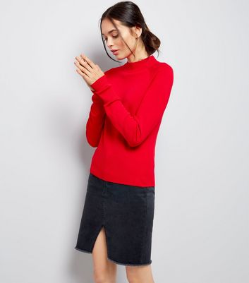 Red High Neck Jumper
