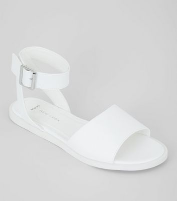 Wide Fit White Sandals