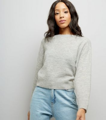 Pale Grey Drop Arm Cropped Jumper