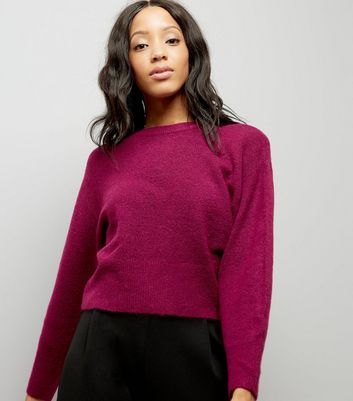Dark Purple Drop Arm Cropped Jumper