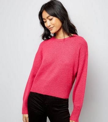 Pink Drop Arm Cropped Jumper
