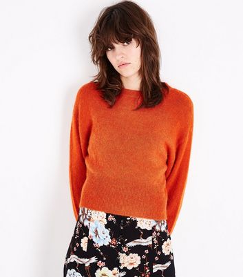 Bright Orange Drop Arm Cropped Jumper