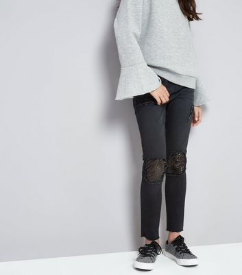 Teens Black Ripped Sequin Insert Skinny Jeans