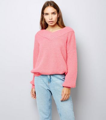 Pink Bardot Neck Jumper