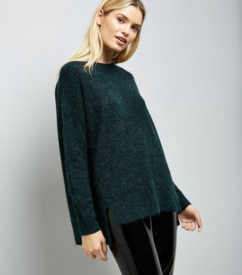 Dark Green Textured Longline Jumper