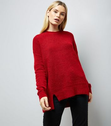 Red Textured Longline Jumper