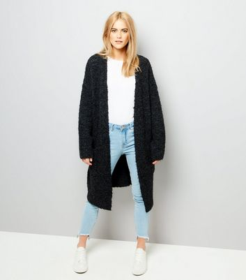 Black Boucle Oversized Cardigan