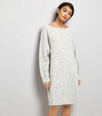 Pale Grey Bar Back Jumper Dress