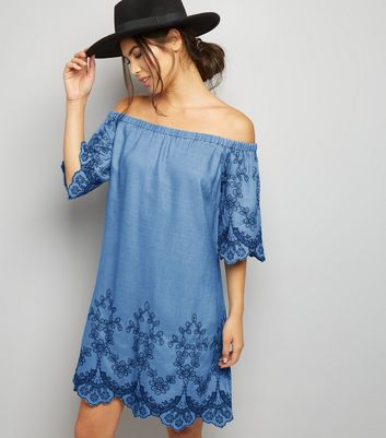 Tall Blue Embroidered Denim Bardot Neck Dress