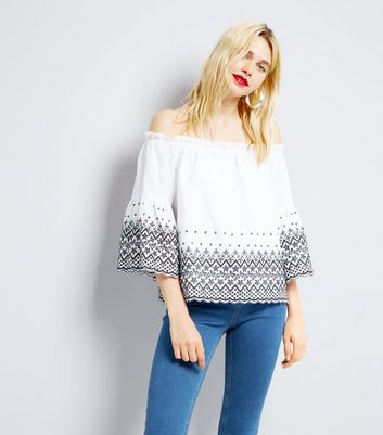White Embroidered Bardot Neck Top