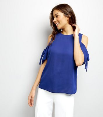 Tall Blue Ruched Tie Cold Shoulder Top
