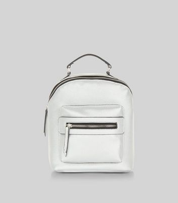 Silver Metallic Pocket Front Mini Backpack