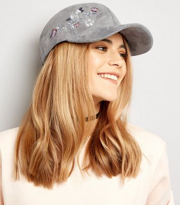 Grey Suedette Embroidered Cap