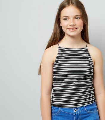 Teens Black Contrast Stripe Cami