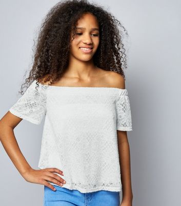 Teens Cream Lace Bardot Neck Top
