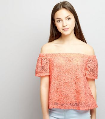 Teens Coral Lace Bardot Neck Top