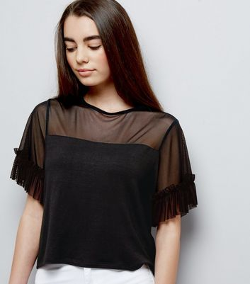 Teens Mesh Frill Trim Crop Top