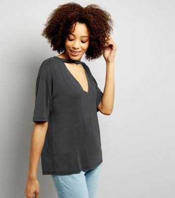 Dark Grey Cut Out Choker Neck T-Shirt