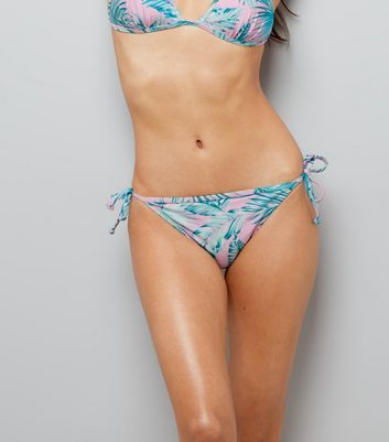 Pink Palm Leaf Print Tie Side Bikini Bottoms