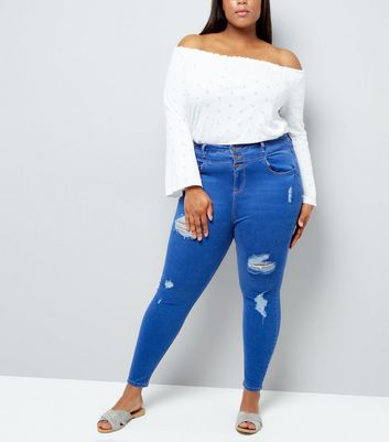 Curves Blue High Waisted Ripped Skinny Jeans