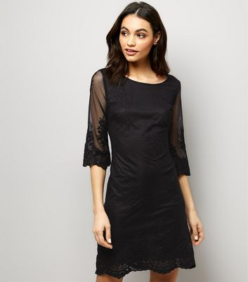 Mela Black Mesh Embroidered Sleeve Mini Dress