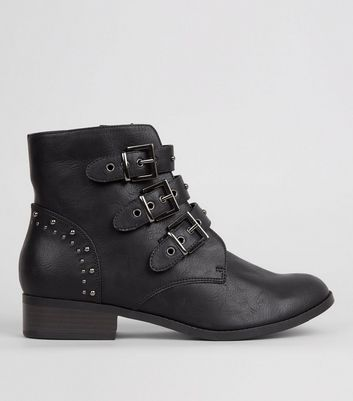 Black Stud Strap Buckle Strap Boots