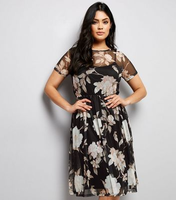 Curves Black Floral Mesh Midi Dress