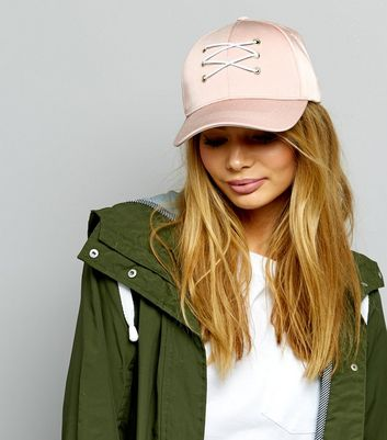 Pink Sateen Lace Up Front Cap