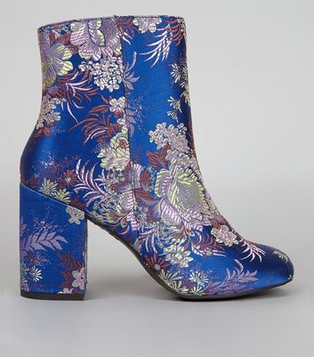 Blue Floral Brocade Heeled Boots