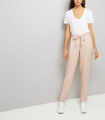 Mid Pink Tie Waist Trousers
