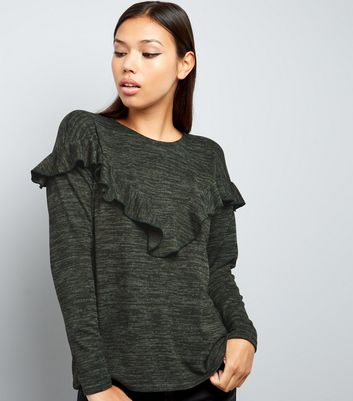Khaki Frill Trim Brushed Long Sleeve Top
