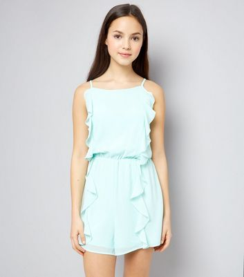 Teens Mint Green Frill Front Playsuit