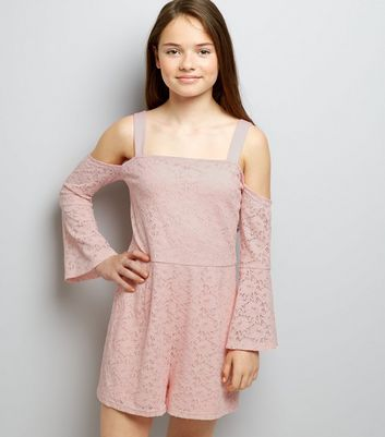 Teens Shell Pink Lace Bell Sleeve Playsuit