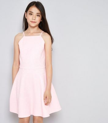 Teens Pink Lace Embossed Skater Dress