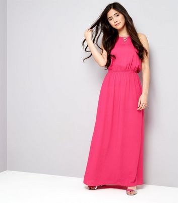 Teens Bright Pink Lattice Front Maxi Dress