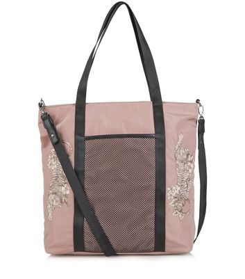 Pink Tiger Embroidered Tote Bag