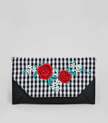 Black Gingham Floral Embroidered Clutch