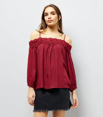 Red Crochet Lace Trim Cold Shoulder Top