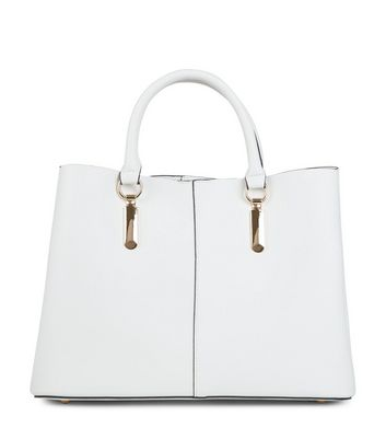 White Gold Trim Tote Bag