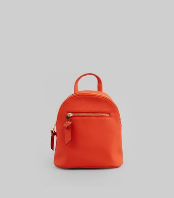 Orange Curved Top Mini Backpack