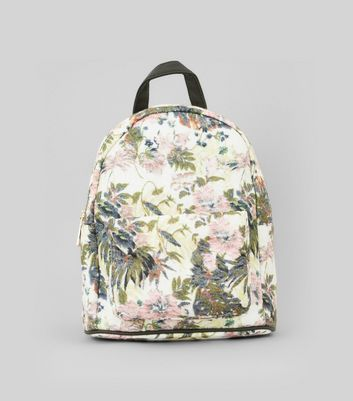 White Floral Printed Textured Mini Backpack