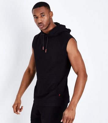 Black Sleeveless Running Hoodie