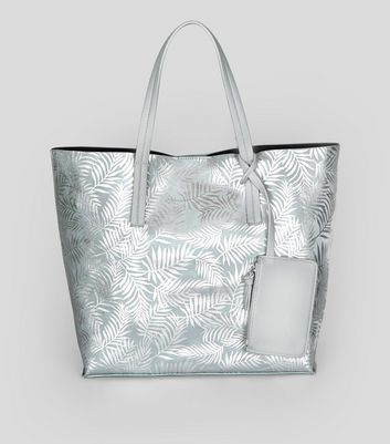 Shopper-Tasche in Metallic-Optik mit Palmenaufdruck